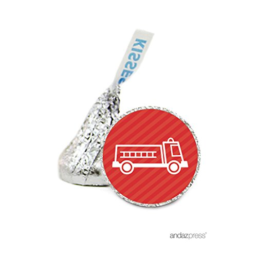 Andaz Press Chocolate Drop Labels Stickers, Birthday, Firetruck, 216-Pack, For Fireman Themed Hershey's Kisses Party Favors, Gifts, Decorations