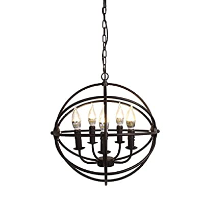 Iglobalbuy 5 Light Chandelier Hanging Fixture Orb Vintage Round Ball Cage