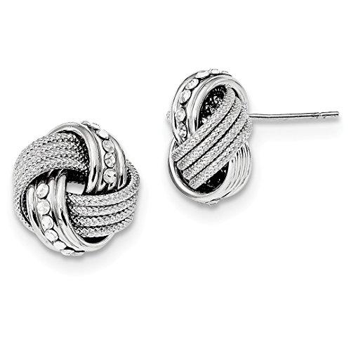 925 Sterling Silver Rhod.swarovski Textured Love Knot Post Stud Earrings Fine Jewelry For Women Gift Set