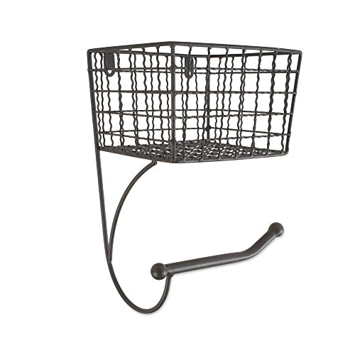 Home Traditions Z02229 Rustic Wall Mount Toilet Tissue Paper Roll Holder and Dispenser Basket for Bathroom Storage, Gray