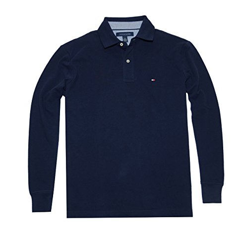 Tommy Hilfiger Men Classic Long Sleeve Logo Polo T-shirt (M, Navy)
