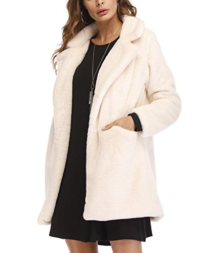 (Felicity Young Women's Winter Warm Lapel Collar Persian Lamb Faux Fur Coat Stylish Long Cardigan Jacket Outwear White, X-Large)