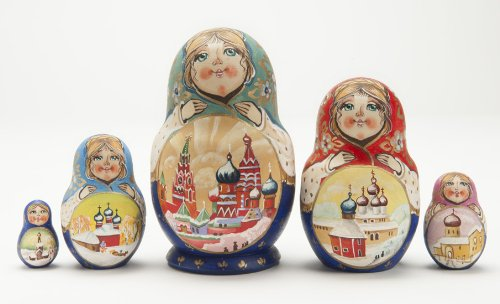 (Russian Wooden Hand Painted Churches Matryoshka Nesting Dolls)