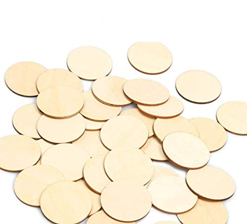 40mm Wood Circles 100pcs Blank Unfinished Round Discs Wooden Cutout Slices Pieces DIY Crafts for Book Signing Sunday School Birthday Game Boards