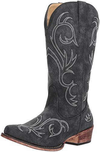 (ROPER Women's Riley Western Boot, Black, 9 D US)