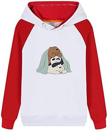 Vhunkjnr We Bare Bears Pullover Cómoda con Capucha impresión de Dibujos Animados Sudadera con Capucha Estilo Simple for Hombres y Mujeres Unisex