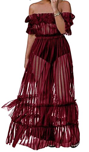 Red Maxi Empire Off Shoulder Big Mesh Cromoncent Cocktail Transparent Women Dress Waist Pendulum 1S7cwHq