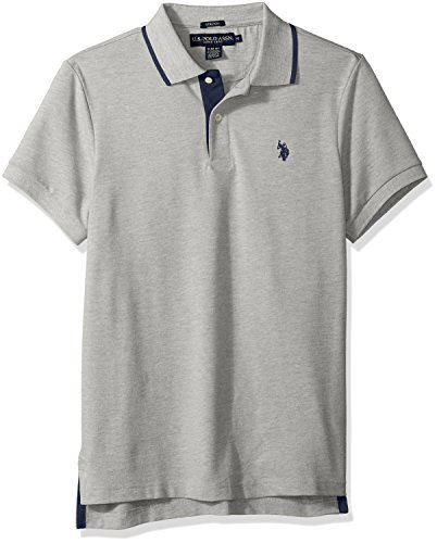 U.S. Polo Assn. Men's Short Sleeve Slim Fit Solid Pique Polo Shirt, Heather Grey KJBH, L