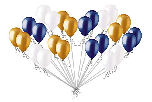 Sorive Metallic Gold Navy Blue and Pearl White Balloons | 3 Style 12 INCH Balloons | Set of 30 | New Years Decor,Graduation Decor, and Holiday Parties Gold Chrome Balloons for Royal Baby Shower, The Little Prince, Navy Party ()