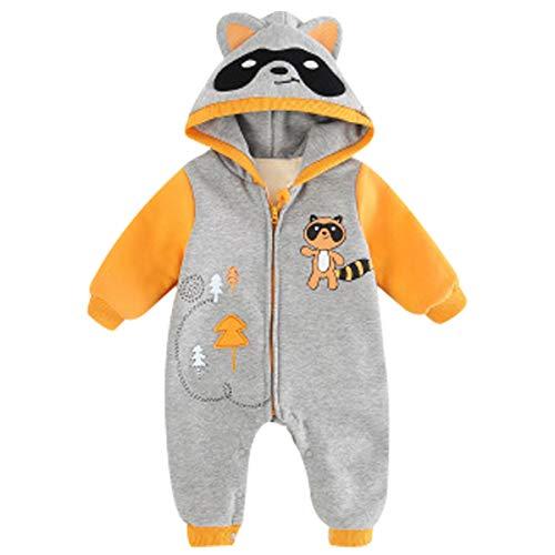 (Bebone Hooded Fleece Romper for Baby Girls Boys Cartoon Animal Fox Jumpsuit (6-9 Months, Grey Raccoon))