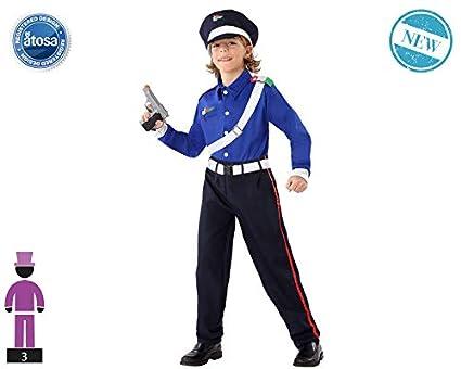 Atosa-61646 Atosa-61646-Disfraz Policia-Infantil Niño, Color azul ...
