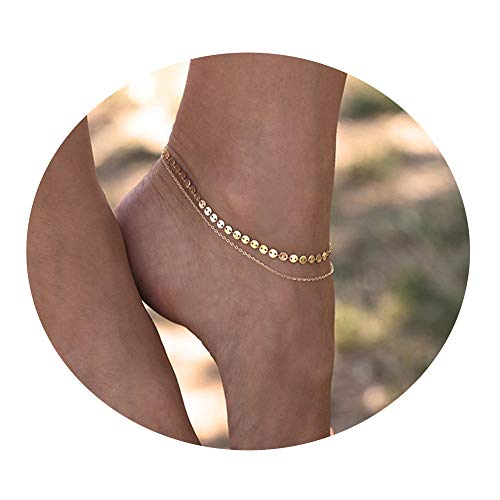 COLROV Cute Summer Layered Anklets for Women Gold Woman Charm Dainty Coin Foot Jewelry Color Golden ()