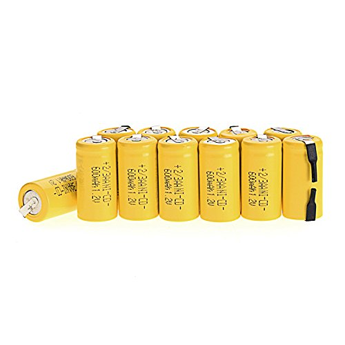 Odstore AA Ni-Cd 1.2V 2/3AA 600mAh Rechargeable Battery - 12pcs yellow