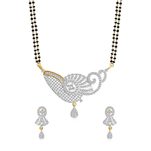 YouBella Ethnic Gold Plated Mangalsutra Necklace Pendant with Chain and Earrings ()