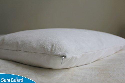 Set of 2 Standard Size SureGuard Pillow Protectors - 100% Waterproof, Bed Bug Proof, Hypoallergenic - Premium Zippered Cotton Terry Covers - 10 Year Warranty