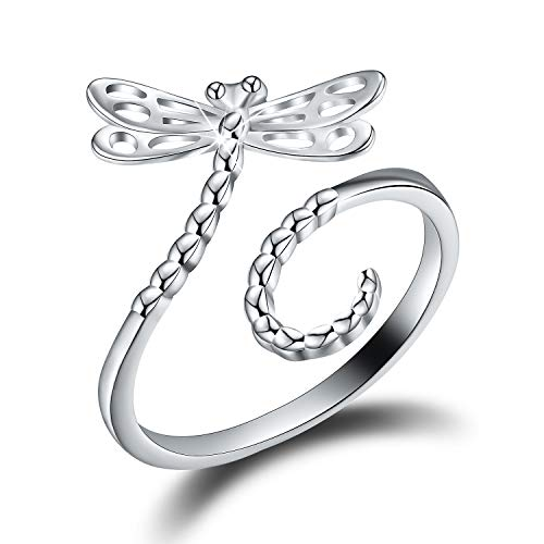 (Esberry 18K Gold Plating 925 Sterling Silver Cute Insect Shape Open Ring Hollow Carving Dragonfly Butterfly Bee Adjustable Rings for Girls and Women (Dragonfly))