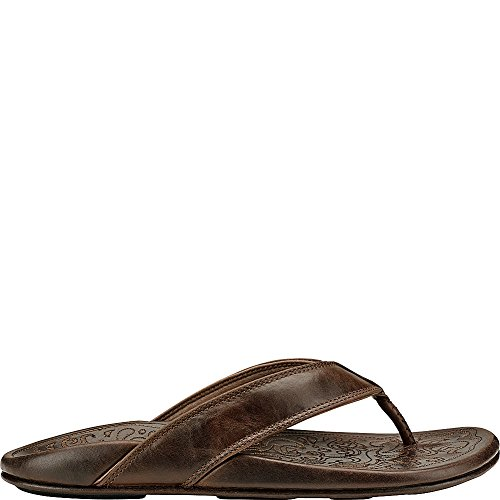 OluKai Waimea - Mens Leather Comfort Sandal Dark Wood/Dark Wood