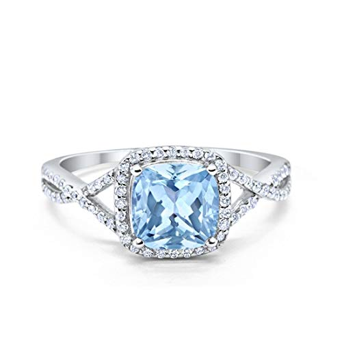 Blue Apple Co. Halo Infinity Shank Engagement Ring Cushion Created White Opal Round Cubic Zirconia 925 Sterling Silver Size - 7
