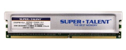 Super Talent Computer Ram (Super Talent DDR400 1GB/64X8 CL3 16CH Memory (PC and MAC G5) D32PB1GJ)