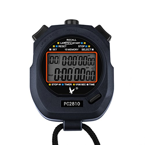 AOZBZ Digital Sport Stopwatch Timer, Referee Athletic Chronograph with 2 Rows of 10 Memory, Countdown and Alarm clock with Large Display