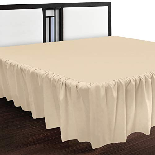 Utopia Bedding Bed Ruffle - Dust Ruffle - Easy Fit with 16 Inch Tailored Drop - Hotel Quality, Wrinkle, Shrinkage and Fade Resistant (Queen, Beige)
