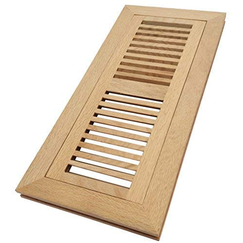 Homewell White Oak Wood Floor Register Vent, Flush Mount with Frame, 4x12 Inch, Unfinished