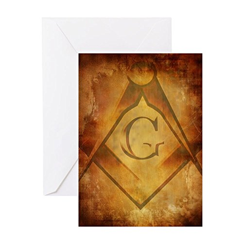 CafePress - Old Paper Texture With Freemason Sig - Greeting Card, Note Card, Birthday Card, Blank Inside (Happy Birthday Sig)