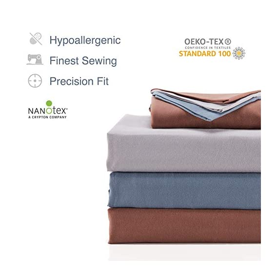 SLEEP ZONE Bed Sheet Sets Cozy Brushed Microfiber Soft Wrinkle Free Fade Resistant with 16 inch Deep Pocket Easy Care Sheets 4 PC, Flint Blue,Full - COOLING & BREATHABLE: The sheet sets designed with new NANOTEX Coolest Comfort Technology. Fabrics treated with advanced moisture wicking system dries 100% faster than cotton, actually balance your body temperature, pulling moisture away from your skin out to the fabric's surface, moisture can more easily evaporate and leaving you a cooler, drier and more comfortable sleeping surface, and leaving you feeling refreshed and rejuvenated. It will keep you cool in the summer and warm in the winter. SOFT & COMFORTABLE: Our coolest comfort Technology offers unbelievably soft fabrics than others, enhanced breathability and advanced temperature regulation to keep you from waking up hot, sweaty and uncomfortable. It's made of premium microfiber yarns and double brushed on both sides for ultimate softness and comfort. Also with the Nanotex cooling technology it gives superior comfort against your skin without extra heat and sweat. DEEP POCKET & PRECISION FIT: Deep pocket fits mattresses up to 16 inch deep, perfect for oversized mattresses. Full size include 4 piece bed sheet sets: 1 Flat Sheet 96x81 inch, 1 Fitted Sheet 75x54 inch, 2 Pillow Case 20x30 inch. Blend of technique and elegance, our linens are designed to offer you a unique and sophisticated sleeping experience. Hypoallergenic: suitable for all skin types. Shrink and wrinkle resistant. Machine wash cold, do not use bleach, tumble dry low. - sheet-sets, bedroom-sheets-comforters, bedroom - 41mL89jZh%2BL. SS570  -