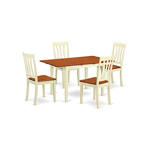 (East West Furniture NOAN5-WHI-W 5 Piece Dinette Table and 4 Chairs)