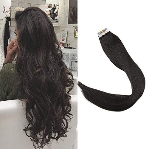 【Promotion】Full Shine 18 20 Pieces 50g Per Package Off Black Color #1B Tape in Human Hair Extensions Thick End Hair Skin Weft Adhesive Tape in Hair Extensions by Full Shine