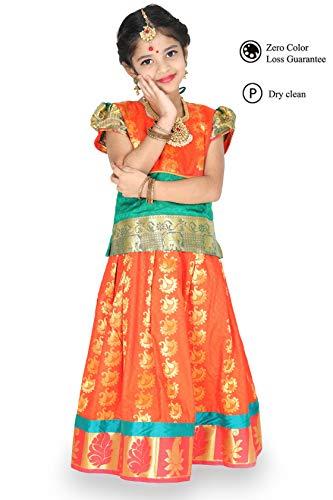 Price comparison product image kaatru Girls Pavadai Set D5 - Lehenga Choli - Buffon Sleeve (Rexona & Orange) (9-10 Y)