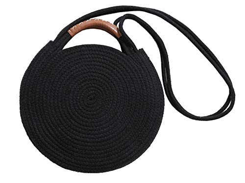 Round Cotton Rope Shoulder Bag with Leather Top Handles and Shoulder Strap, Handmade Natural Material Handbag, Ultra Soft, Black