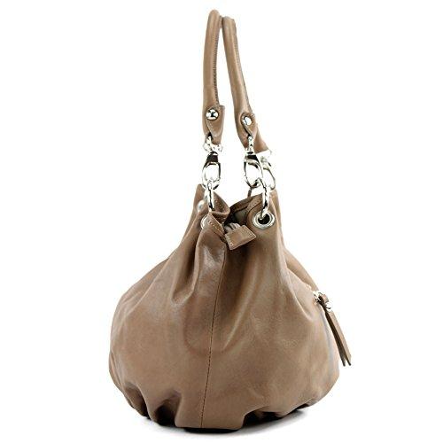 modamoda de - ital. Ledertasche Damenhandtasche Damentasche Schultertasche Nappaleder IT40 Toffee 5pTw5pqv