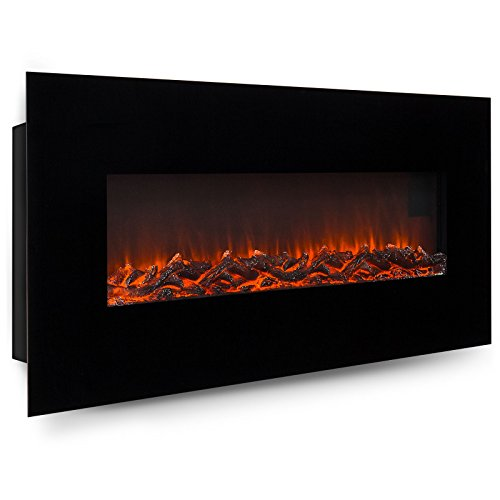 Fireplaces New 50 Electric Wall Mounted Fireplace Heater W Adjustable Heating Metal Glass