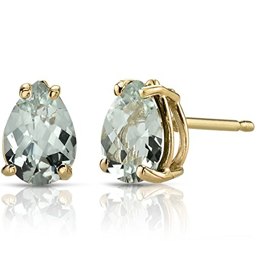 14K Yellow Gold Pear Shape 1.50 Carats Green Amethyst Stud Earrings