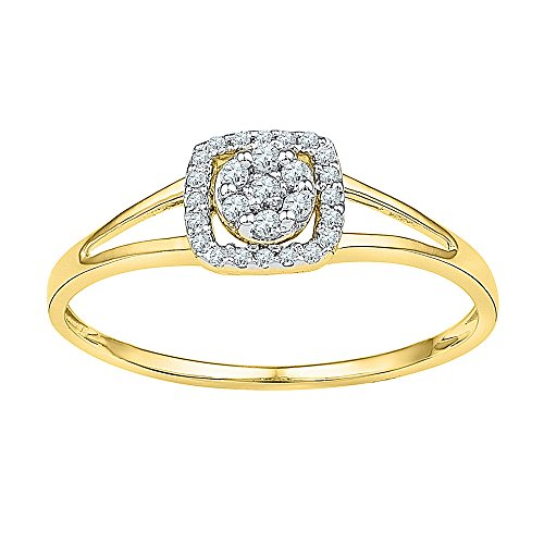 Square Diamond Right Hand Ring Solid 10k Yellow Gold Cocktail Band Round Cluster Style Polished 1/10 (Diamond Flower Right Hand Ring)