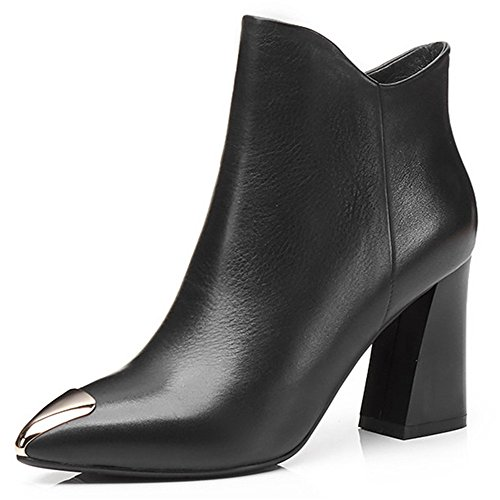 Women's Seven Ankle Cow Boot Casual Toe Heel Leather Pointed Nine Handmade Block Black Cap dqtxPpgdaw