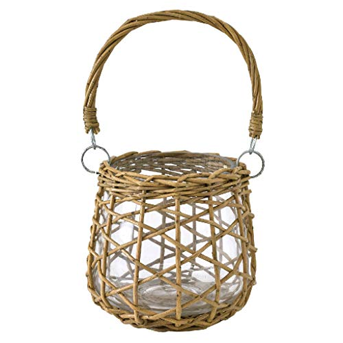 Time Concept Fontaine Glass Flower Vase - Large - with Straw Basket Weave Overlay, Glass Willow Material, Home & Garden Pot Decor