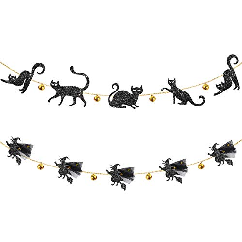 Happy Halloween Black Witch (pinkblume Jingle Bell Black Cat Banner and 3D FlyingWitchesGarland for Happy HalloweenParty Decor Carnival Kids Theme Party CatPartyDecorations All Hallows Eve Party Supplies)