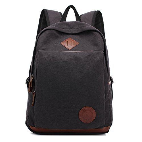 Augur Vintage Canvas Backpack Durable Laptop Rucksack Classic Travel Backpack (Large Black) [並行輸入品]   B078QYQB5J