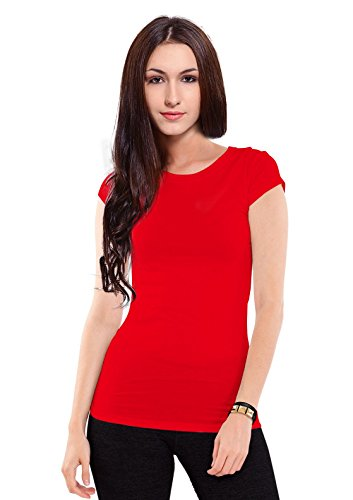 Womens Solid Athletic Fit Short Sleeve Cotton Crew Neck T-Shirt,Red,Juniors'