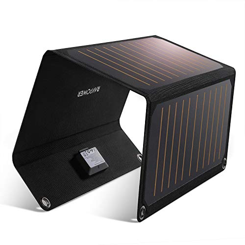 RAVPower Solar Charger 21W Solar Panel with Dual USB Port Waterproof Foldable Camping Travel Charger Compatible iPhone Xs XS Max XR X 8 7 Plus, iPad, Galaxy S9 S8 Edge Plus, Note, LG, Nexus and More (Best Notes For Ipad)