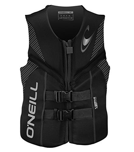 Black Jacket Vest (O'Neill Men's Reactor USCG Life Vest, Black/Black/Black,X-Large)