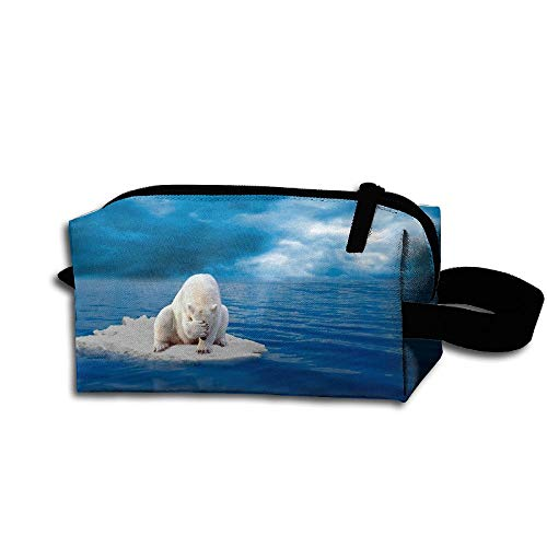 Clash Durable Zipper Wallet Makeup Handbag With Wrist Band Sad Polar Bear Toiletry Bag -