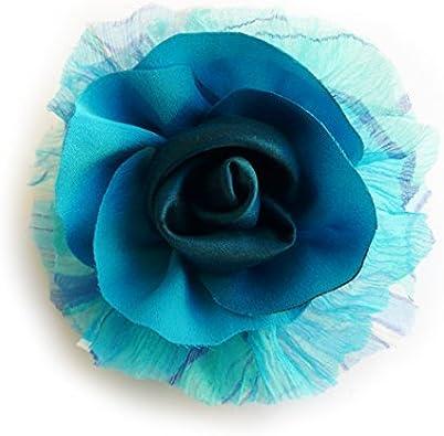 LIDA LYDI Broche fleur bleu et turquoise en tissu satin et mousseline de soie.