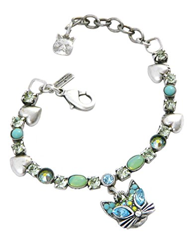 Mary Demarco Glamour Puss Cat Bracelet, Pewter, Swarovski Crystal, and Green Opal, Adjustable 6.25-7.5