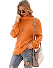YUNDAI Womens Turtleneck Loose Sweaters Batwing Long Sleeve Pullover Oversize Chunky Knit Jumper