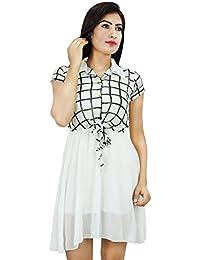 Boho Gypsy Tunic Above Knee Georgette Dress Casual Summer Wear for Girls