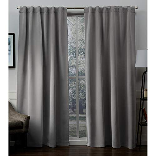 (Exclusive Home Sateen Twill Woven Blackout Hidden Tab Curtain Panel Pair, Veridian Gray, 52x96)