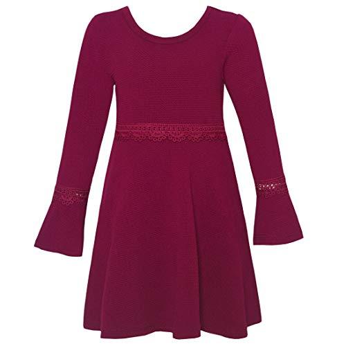 Dress Trim Cross Criss (RMLA Little Girls Berry Lace Trim Flared Long Sleeve Criss-Cross Strap Dress 5)